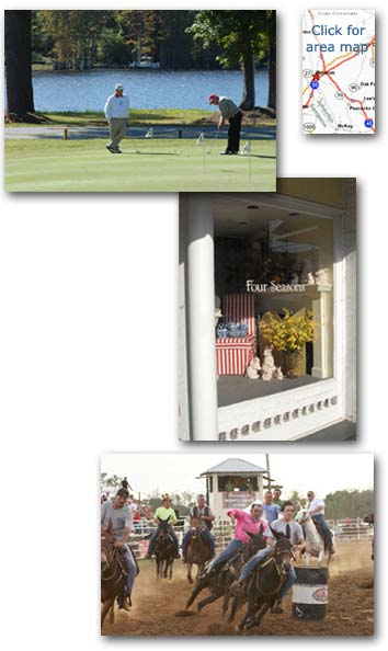 Images of Benson, including men golfing, an area map, a store window, and people racing horses